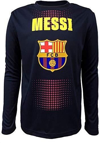 Offizielles FC Barcelona Messi, Junior Jungen Rundhalsausschnitt, langärmliges Top - Blau - Klein