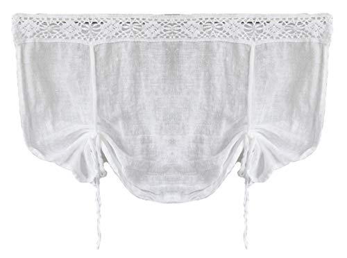 Gardine Scheibengardine Landhaus Shabby Chic Vintage Vorhang Weiß Leinen 45Hx60B