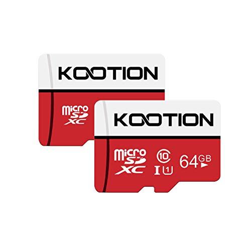 KOOTION Carte Micro SD 64 Go Lot de 2 Carte Mémoire UHS-I Vitesse jusqu'à 80 m/s,TF Micro SDXC, Classe 10, U1 pour Drone/Dash Cam/Camera/Phone/Nintendo-Switch/PC/Tablet(64 Go*2, U1)