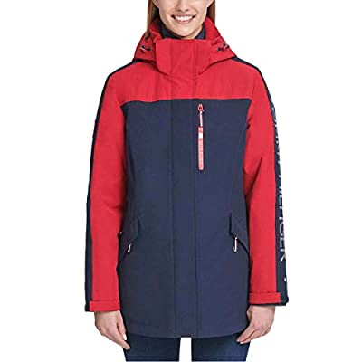 Tommy Hilfiger Womens Winter Cold Weather Basic Coat Red L by