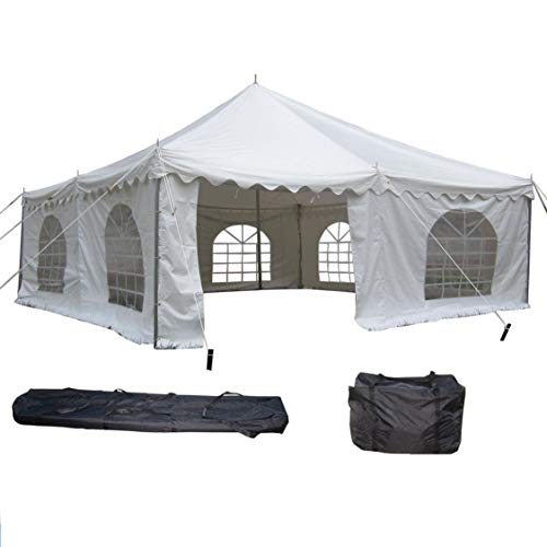 DELTA Canopies 20'x20' PVC Pole Tent - Heavy Duty Wedding Party Canopy Shelter White - with Storage Bags