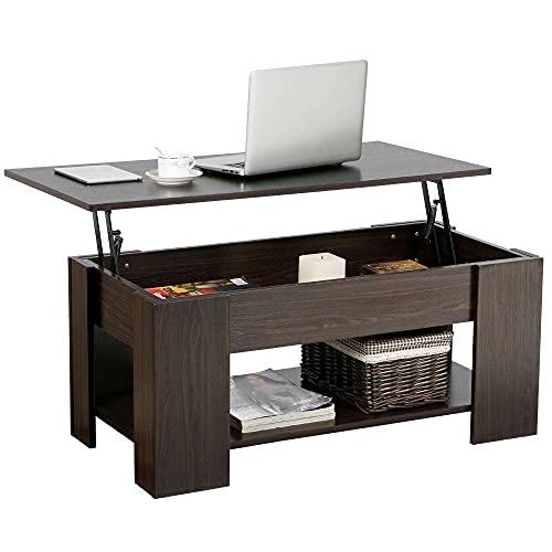 Yaheetech Table Basse avec Plateau Relevable Compartiment Caché Table de Salon Moderne 98 x 50 x 42 cm Brun Foncé