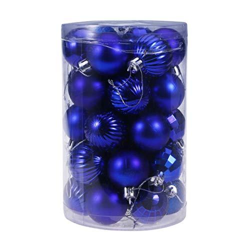 TOYANDONA 34 Pezzi Palle di Natale Ornamenti Plastica Infrangibile Glitter Baubles Albero di Natale Palle Appese per Natale Decorazione Festa di Festa (Blu)