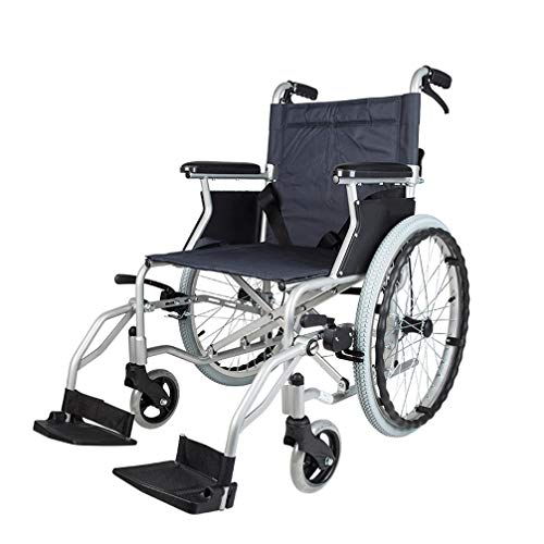 Buy Bargain ROY Folding Adult Wheelchair, Hand Brakes Adjustable Speed and Seat Belt Portable Transp...