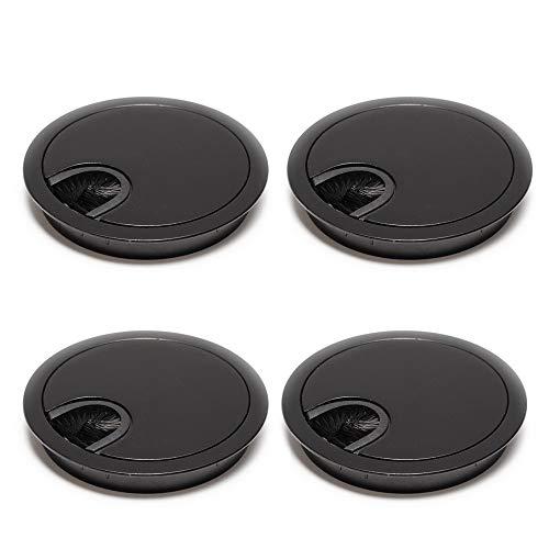 sossai Pasacable redondo/canal de cableado/salida de cables | juego de 4 | KDM1-BL | Diseño: negro | Diámetro: 80 mm | Material: metal