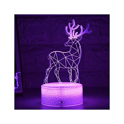 Luz De Noche para Niños, Lámpara De Ilusión Led 3D, Luz De Noche, Lámpara De Noche De Mesa Creativa, Luz De Alce Romántica, Decoración del Hogar para Niños, Regalos