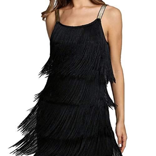 Donne Frange Abito Flapper Sexy Vestito Anni 20 Charleston Festa Costume Latino Rumba Senza Maniche a Canotta Vestiti Nero Bianca Argento S M L XL