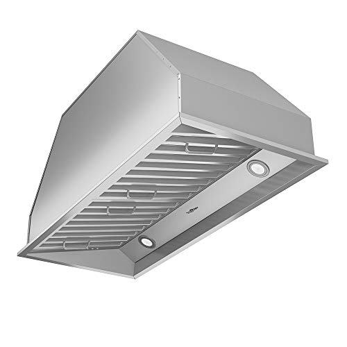 Ancona AN-1313 Chef Series Built-in 34' Ducted 600 CFM Insert Range Hood with LED Lights, Silver