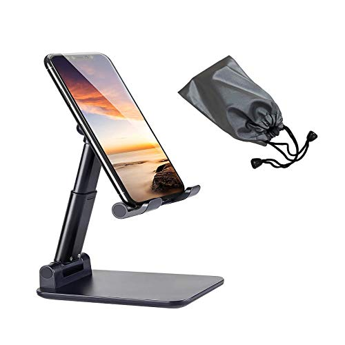 airtrot Portable Cell Phone Stand for Desk, Full Foldable Phone Holder with Adjustable Height and Angle Sturdy and Compatible with All Phones, Switch and Tablets (Smaller Than 9.7 inch), Black
