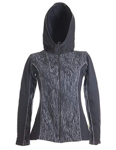 Vishes - Alternative Bekleidung - Bedrucktes Damen Hoodie - Kapuzenjacke aus weichem Baumwollfleece schwarz 46