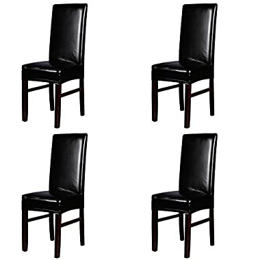 Dining Chair Covers, My Decor Solid Pu Leather Waterproof Stretch Dining Chair Protctor Cover Slipcover, Black, 4 Pack