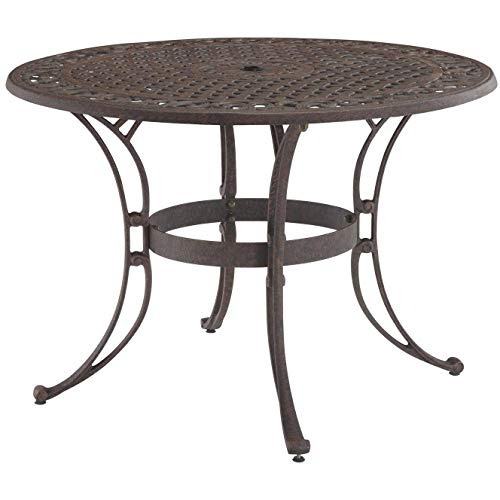 Home Styles Biscayne 42-inch Round Bronze Outdoor Patio Dining Table Constructed of Cast Aluminum with Bronze Antique Powder Finish and Protective Clear Coat on Decorative Table Top.