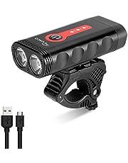 RYACO Fietsverlichting, USB Oplaadbare Fietsverlichting Koplamp Voorlamp, 2400 Lumen, 4 Modi, IP65 Waterdichte Fiets Bergkoplamp, Zaklamp (Zwart & Rood)