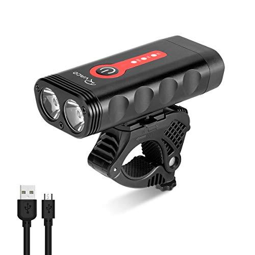 Ryaco Éclairage Vélo, Puissant 2400 lumens, 4400mAh, Lumière de Vélo Eclairage Avant USB Rechargeable LED Phare Lampe, 4 Modes d'Éclairage, Étanche IP65 pour Camping, Dames, Hommes