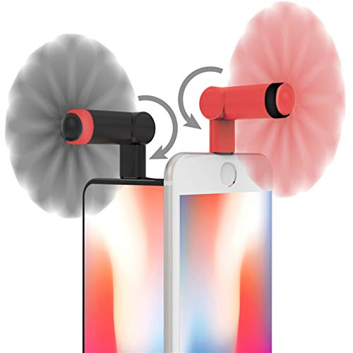 Genuie Fan for iPhone(2 packs) , Mini Fan with 180 Rotating, Strong Wind, Lightweight Compatible for iPhone, iPad, iPod and Any Lighting Devices. Upgraded Version (Black and Rose Red)