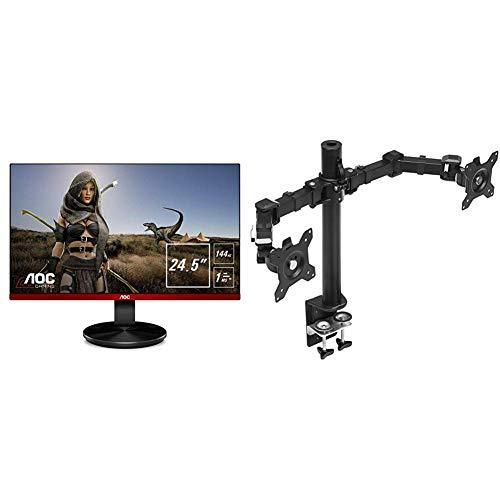 AOC G2590FX - Ecran Gaming 24, 5' 144 Hz avec Freesync & Amazon Basics Bras de Support Double à Fixation pour écran Hauteur réglable Acier