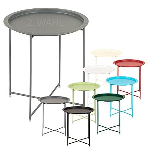 Beistelltisch 2. Wahl Gartentisch Balkon Tisch Terassentisch rund Alberta Metall wetterfest zusammen Farbe dunkelgrau - basaltgrau