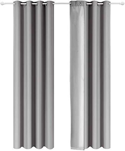 Shang Gu - Cortinas aislantes térmicas de doble cara con revestimiento plateado con ojales para dormitorio, salón, oficina, 140 x 250 cm, color gris claro