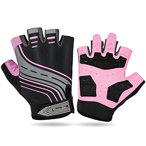 JTXQSI Pad Cycling Gloves Bike Half Finger Gloves Shockproof Road MTB Outdoor Sport Bicycle Half Gloves (Color : Pink, Size : XL)