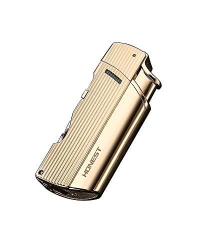 【WDMART】 葉巻 用ライター ガスライター メタルライター 充填式ライター 注入式ライター ツイン ターボ ジェット ライター 葉巻パンチ付き 誕生日プレゼント(ガスを含んでいません) (ゴールド)