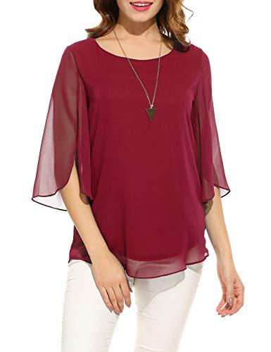 ACEVOG Women's Casual Chiffon Blouse Scoop Neck 3/4 Sleeve Top Shirts (Wine Red, Medium)