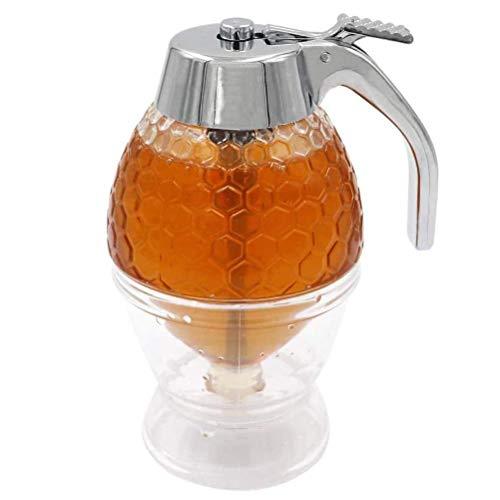 Hosuho - Dispensador de miel de acrílico (200 ml, con forma de peine transparente, para servir miel y jarabe