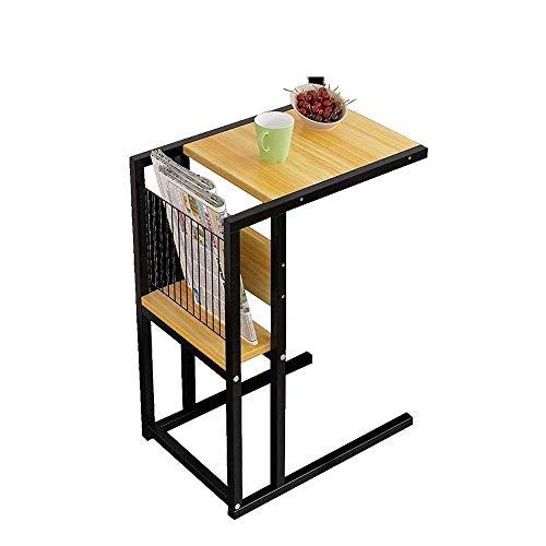FTFTO Productos para el hogar Mesa de sofá Mesa Mesas de refrigerio de Hierro Resistente Escritorio de Extremo Aspecto de Madera Natural Marco de Metal Mesas Laterales pequeñas en C (Color: A)
