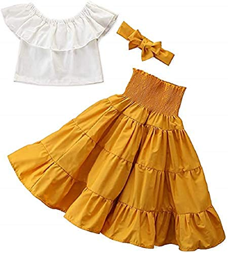 Fashion Kids Toddler Girl Off Shoulder Crop Top Blouse High Waist Ruffled Maxi Skirt Summer Outfits with Headband (Yellow, 3-4T)
