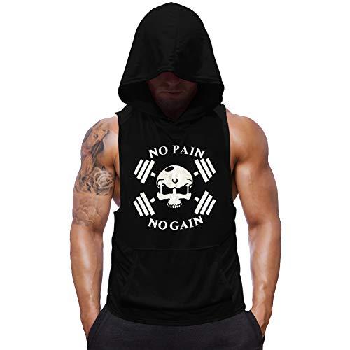 SZKANI Mens Skull Print Sleeveless Fitness Vest Bodybuilding Stringers Workout Tank Tops (Large, Black(Double Dumbbell))