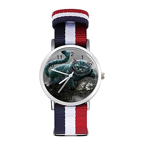 Film-Uhr Grinsekatze Glas Spiegel Skala Geflochtene Gürtel Uhr Casual geeignet für Büro Schule Männer und Frauen Geschenk