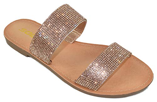 Soda Shoes Women Flip Flops Slippers Sandals Double Strap Slide Casual Bling Rhinestone Crystals Among-S gold Size: 5.5 UK