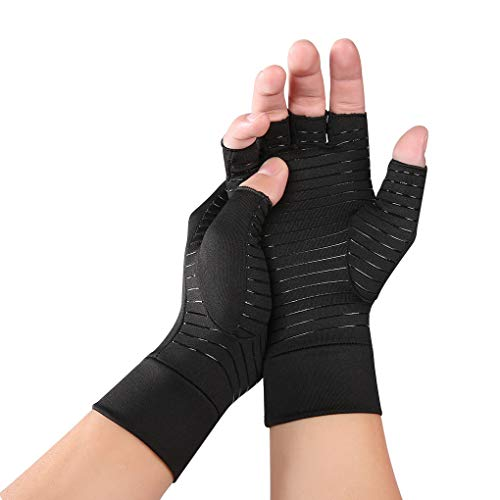 Compression Arthritis Gloves for Typing-Rapid Recovery and Pain Relief, Anti-UV Half Finger Cycling Gloves Breathable Elastic Camping Fishing Driving Outwork Gloves Hands Support