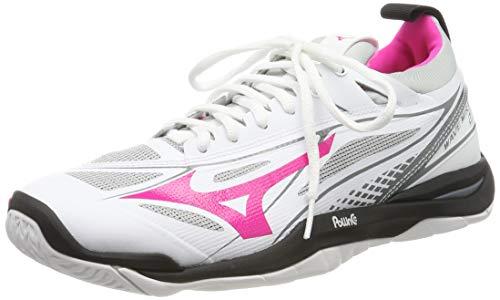 Mizuno Damen Wave Mirage 2.1 Sneakers, Mehrfarbig (White/Black/Pink Glo 001), 42 EU