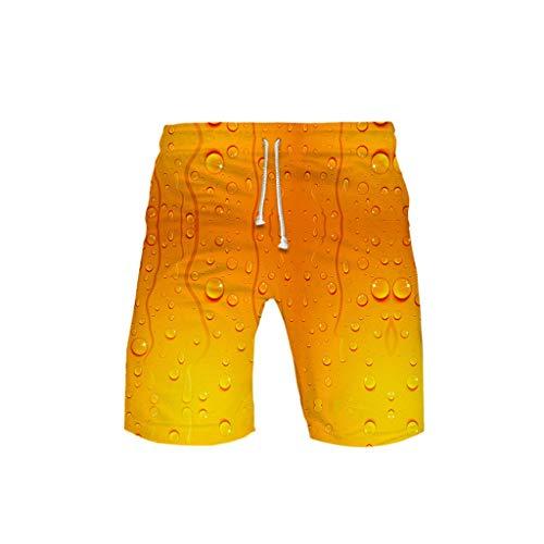 LOSVIP Badehose für Herren Bier 3D Druck Bunt Kurze Hose Badeshorts Schnelltrocknend Beachshorts Boardshorts Bademode Männer Jungen mit Mesh Futter Surf Shorts(Orange,M)
