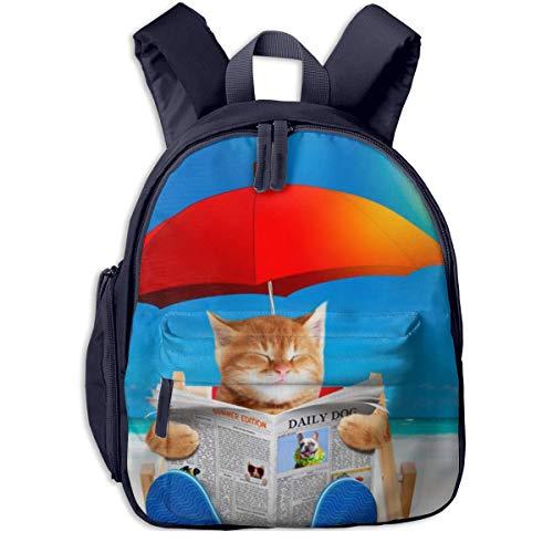 ADGBag Kinderrucksack Schultasche Cat Read Newspaper In Beach Chair Children's/Kids School/Nursery/Picnic/Carry/Travelling Bag Backpack Daypack Bookbags Navy