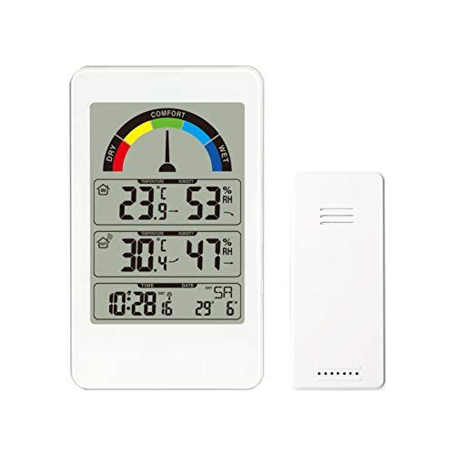 Wangcong Komfortanzeigethermometer,Wetteruhr,digitaler elektronischer Wandwecker,Wetterstation für Temperatur und Luftfeuchtigkeit im Innen- und Außenbereich
