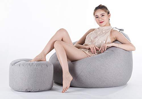 Zitzak Adult Grote Zitzak voor Binnen en Buiten - Perfecte Lounge- of Gamestoel - Zitzak voor Thuis of in de Tuin,Gray,XL+Footstool