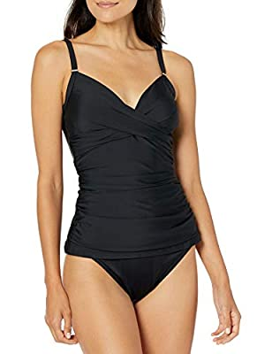 Calvin Klein Women's Tankini Swimsuit with Adjustable Straps and Tummy Control, Black, Medium