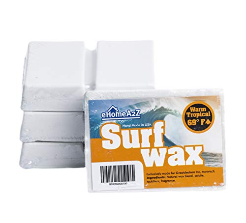 EHOMEA2Z Surfboard Wax Warm Tropical High Performance All Natural 1,2,3,4 Pack Mango Scent