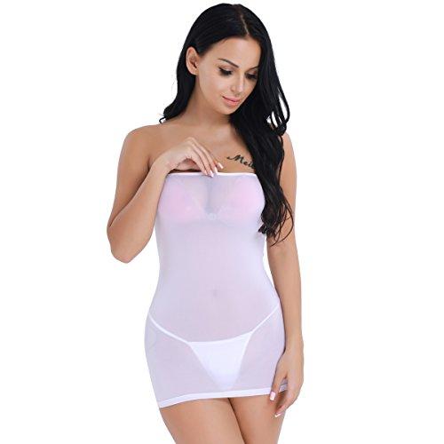 dPois Damen Nahtloses Kleid Etuikleid Reizwäsche Transparent Sexy Minikleid Dessous Reizvoll Figurbetont in Schwarz, Weiß Weiß One_Size