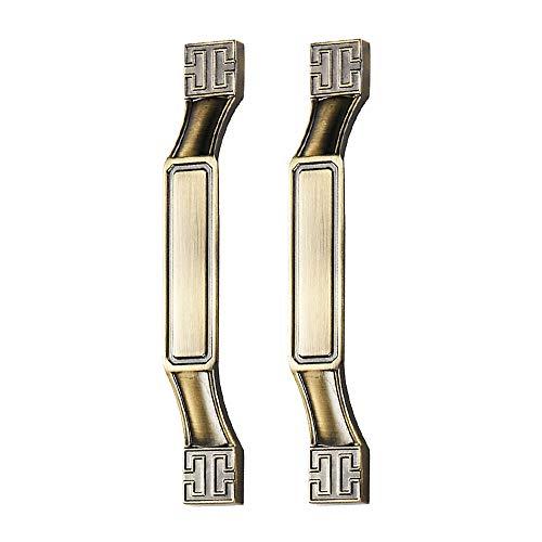 Juego de 2 tiradores de puerta de armario de estilo vintage, estilo retro, para cocina, armario, armario, armario, tirador de aleación de zinc para muebles – 6702-128-bronce