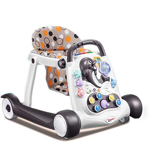 GUO@ Baby Walker Rollover Prevention Multifunción con Música Infantil 6/7-18 Meses Push Can Sit Infantil Walker Velocidad ajustable (Color : #1)