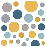 Little Deco Wandsticker 86 Punkte Kinderzimmer Junge Mädchen Kreise   blau gelb Mint   viele Farben Wandtattoo Klebepunkte Wandaufkleber Dots bunt DL390