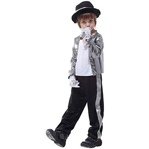 Sq Costume Children's Carnival Halloween Costume Disguise Costume Michael Jackson Boys Silver,Silver,L