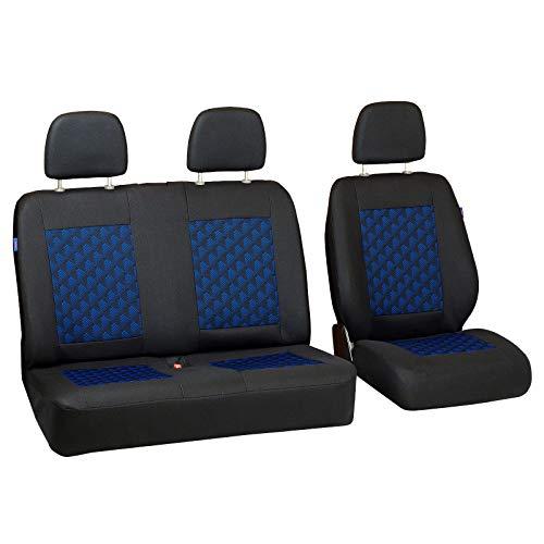 Zakschneider Fundas De Asiento para Mercedes Vito Cargo - Conjunto De Fundas 1+2 - Color Premium Negro con Efecto 3D Azul