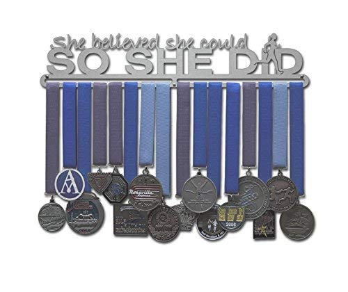 Allied Medal Hangers - She Believed She Could So She Did: Awards Display Rack Holder Runner Figure - Multiple Size Options Available (18 Wide with 1 Hang bar)
