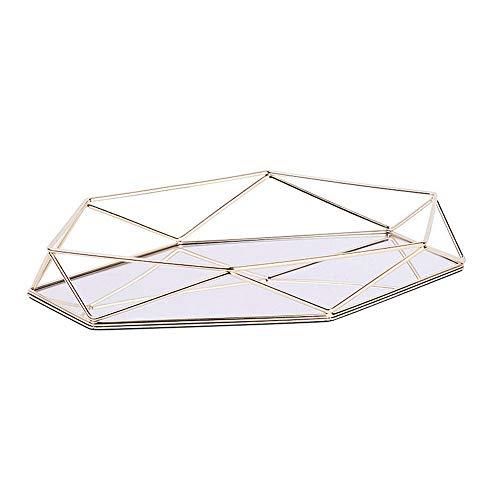 FABSELLER - Bandeja Decorativa de Metal con Espejo, Color Oro Rosa, Lujosa, Bandeja de Almacenamiento Hexagonal para Escritorio, Estilo nórdico, Simple
