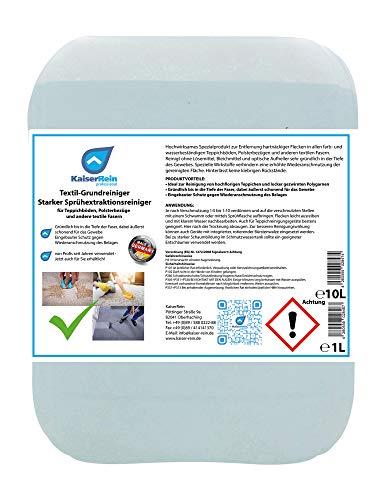KaiserReinTextil-Grundreiniger Starker Sprühextraktionsreiniger 10 L Teppichreiniger Polsterreiniger Textilreiniger flüssig Konzentrat für Teppichböden, Polsterbezüge, Auto, Textil