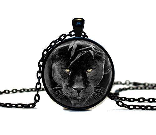 Beautiful Dandelion Hermoso colgante de diente de león con pantera negra, collar de gatos grandes, animales salvajes