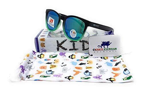 VENICE EYEWEAR OCCHIALI Gafas de sol Polarizadas para niño (Negro-Verde)